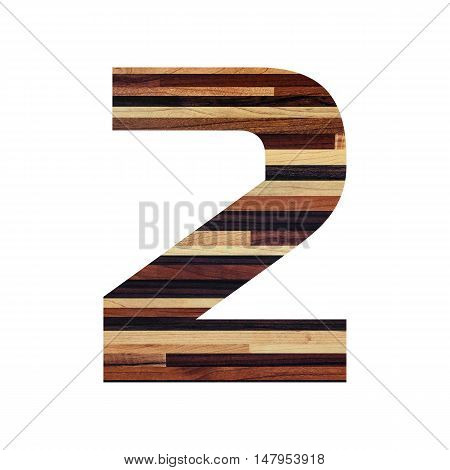 Number 2 ( two ) with vintage wood texture background.