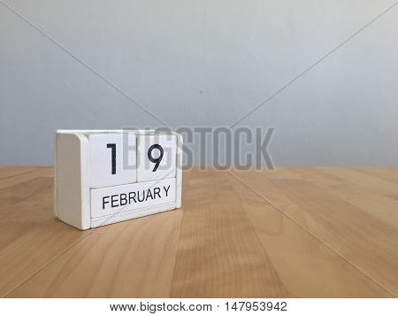 February 19Th.february 19 White Wooden Calendar On Vintage Wood Abstract Background.winter Time. Cop