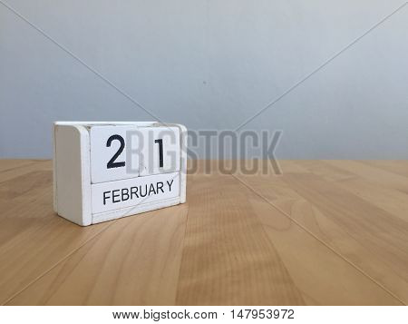 February 21St.february 21 White Wooden Calendar On Vintage Wood Abstract Background.winter Time. Cop
