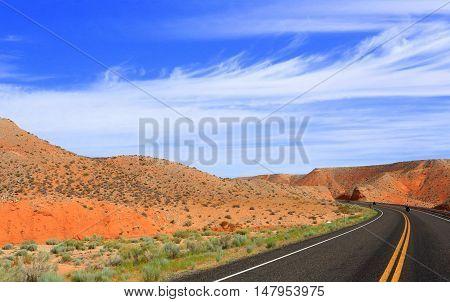 Motorcycling through Glen Canyon National Park, Utah