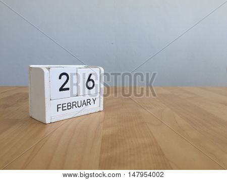 February 26Th.february 26 White Wooden Calendar On Vintage Wood Abstract Background.winter Time. Cop