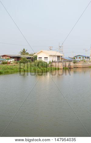 close up khlong Preng river in Chachoengsao Thailand
