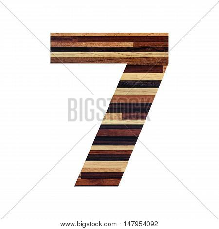 Number 7 ( seven ) with vintage wood texture background.