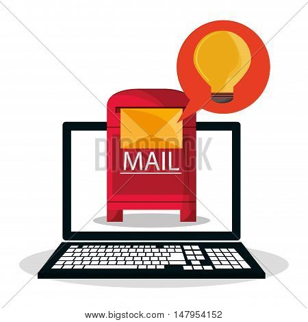 Laptop bulb bubble and envelope icon. Email mail message communication and technology theme. Colorful design. Vector illustration