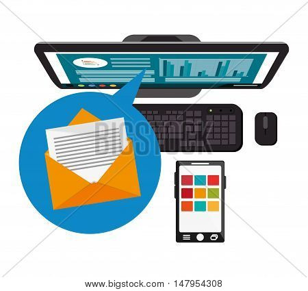 Computer smartphone and envelope icon. Email mail message communication and technology theme. Colorful design. Vector illustration