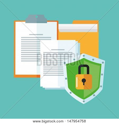 File document and padlock icon. Cyber security system and media theme. Colorful design. Vector illustration