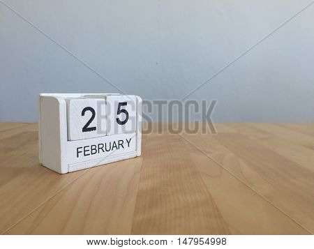 February 25Th.february 25 White Wooden Calendar On Vintage Wood Abstract Background.winter Time. Cop