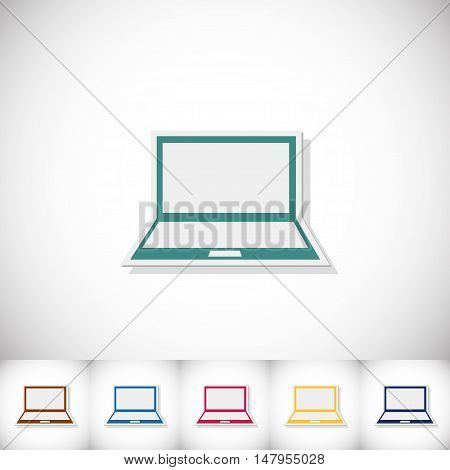 Laptop. Flat sticker with shadow on white background. Vector illustration