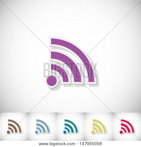 Wi-Fi. Flat sticker with shadow on white background. Vector illustration