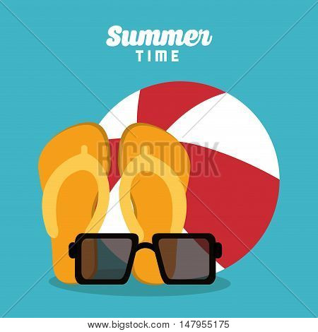 Glasses sandals and ball icon. Summer holiday and vacations theme. Colorful design. Vector illustration