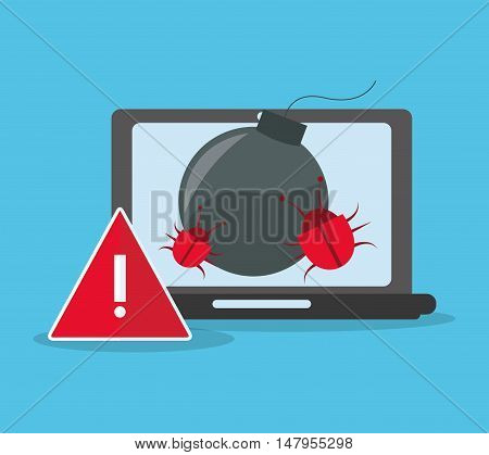 Laptop bug and alarm icon. Cyber security system and media theme. Colorful design. Vector illustration