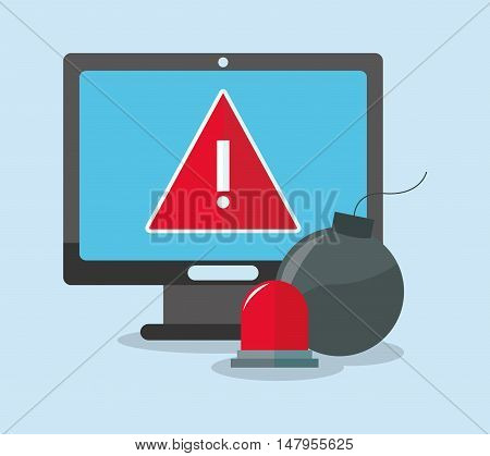 Computer bomb and alarm icon. Cyber security system and media theme. Colorful design. Vector illustration