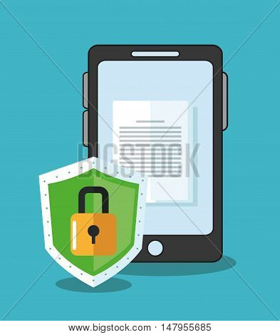 Smartphone shield and padlock icon. Cyber security system and media theme. Colorful design. Vector illustration