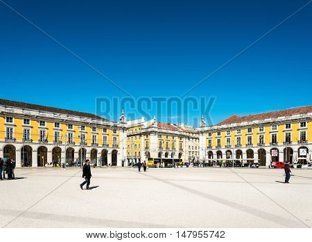 Lisbon, Portugal.- March 10: Traditional old buildings on March 10, 2016. Beautiful street view of historic architectural in Lisbon, Portugal, Europe