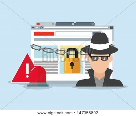 hacker alarm and padlock. Cyber security system and media theme. Colorful design. Vector illustration