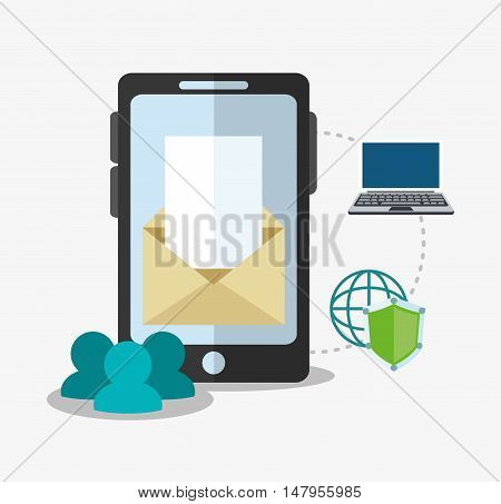 Smartphone envelope and shield icon. Cyber security system and media theme. Colorful design. Vector illustration