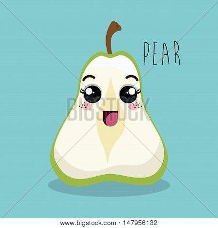 cartoon pear sliced fruit facial expression design isolated vector illustration esp 10