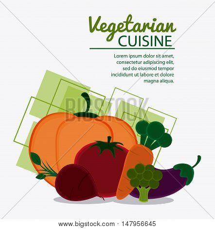 red onion tomato pumpkin carrot broccoli eggplant icon. Vegetarian cuisine organic and healthy food theme. Colorful design. Vector illustration