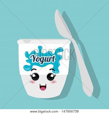 cartoon cup yogurt and spoon design isolated vector illustration eps 10