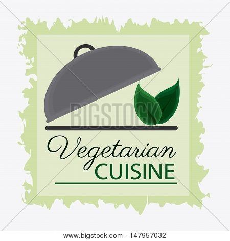 Plate and leaves icon. Vegetarian cuisine organic and healthy food theme. Colorful design. Vector illustration