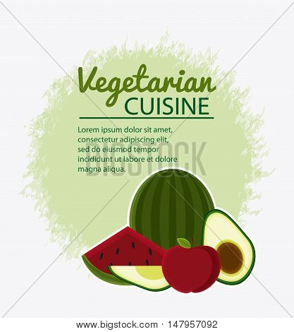 Watermelon apple and avocado icon. Vegetarian cuisine organic and healthy food theme. Colorful design. Vector illustration