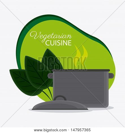 Cooking pot and leaves icon. Vegetarian cuisine organic and healthy food theme. Colorful design. Vector illustration