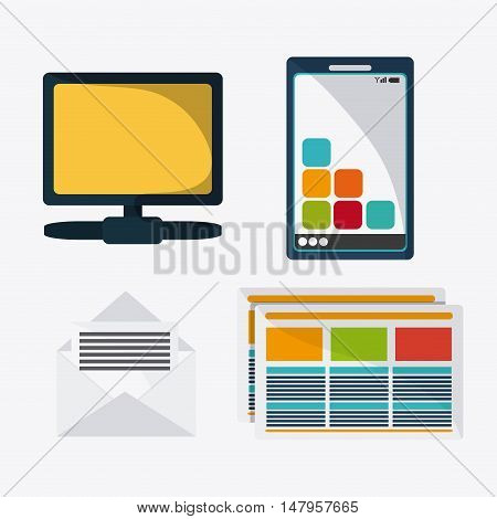 Computer smartphone envelope and document icon. Data protection cyber security system and media theme. Colorful design. Vector illustration