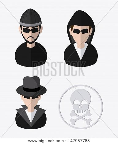 Hacker thief and skull icon. Data protection cyber security system and media theme. Colorful design. Vector illustration