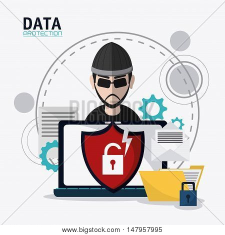 Hacker thief shield file padlock and laptop icon. Data protection cyber security system and media theme. Colorful design. Vector illustration