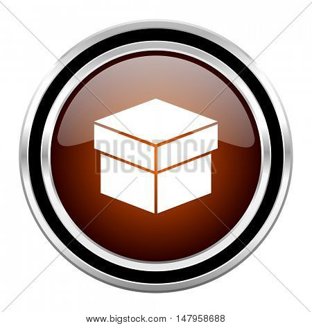box round circle glossy metallic chrome web icon isolated on white background