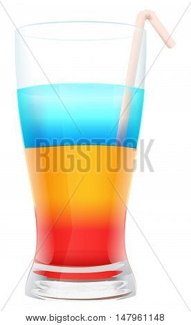 Multi colored alcohol layers cocktail in glass with straw. Isolated on white vector illustration