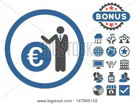 Euro Economist icon with bonus symbols. Vector illustration style is flat iconic bicolor symbols, cobalt and gray colors, white background.