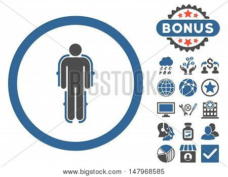 Exoskeleton icon with bonus pictogram. Vector illustration style is flat iconic bicolor symbols, cobalt and gray colors, white background.