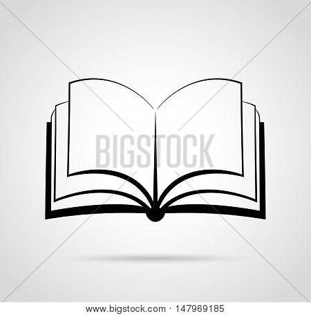 Illustration of open book design black drawing