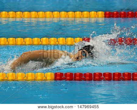 RIO DE JANEIRO, BRAZIL - AUGUST 12, 2016: Olympic champion Katie Ledecky of United States competes at the Women's 800m freestyle of the Rio 2016 Olympic Games at the Olympic Aquatics Stadium