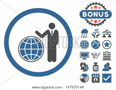 Global Manager icon with bonus design elements. Vector illustration style is flat iconic bicolor symbols, cobalt and gray colors, white background.