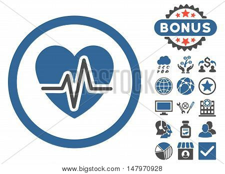 Heart Diagram icon with bonus design elements. Vector illustration style is flat iconic bicolor symbols, cobalt and gray colors, white background.