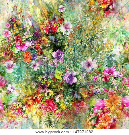 Watercolor painting of leaf and flowers seamless pattern