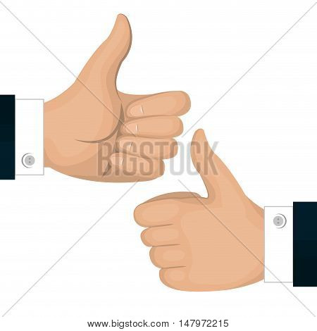 thumbs up icon gesture back and front isolated vector illustration eps 10
