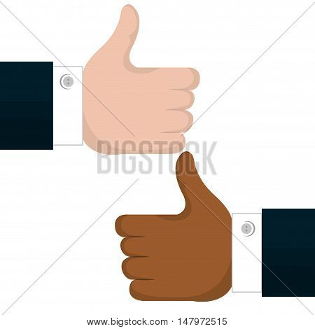 two hands like multicultural isolated vector illustration eps 10