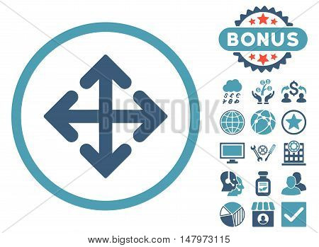 Direction Variants icon with bonus elements. Vector illustration style is flat iconic bicolor symbols, cyan and blue colors, white background.