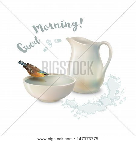 Vector Good Morning concept design. Pitcher and bird drinking water from a pottery bowl on a white background