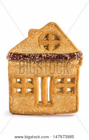 Cookies in the form of a house close-up on a white background