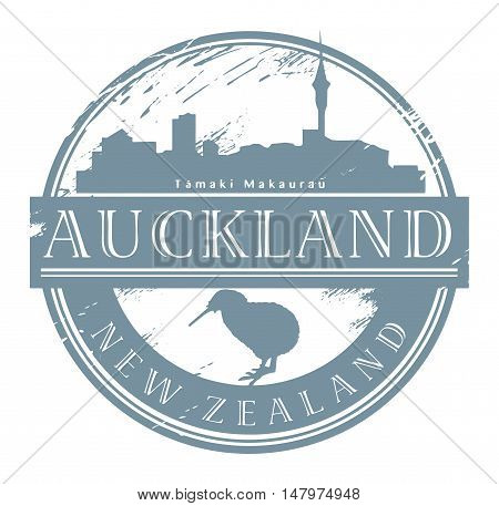 Auckland city, New Zealand stamp, vector illustration