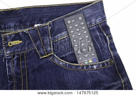 Remote in pocket of denim coveralls on a white background. poster