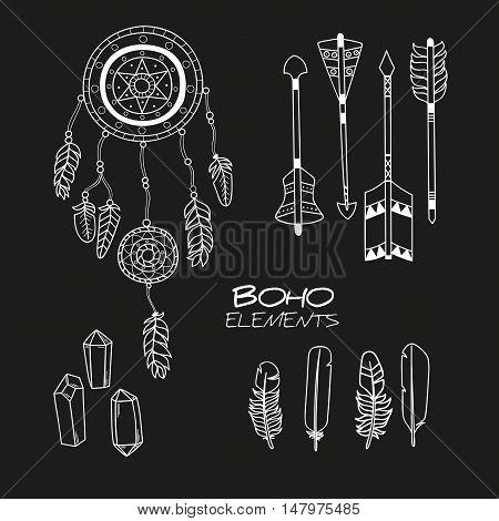 Set of Hand Drawn Boho Elements / Boho Style Decorative Symbols