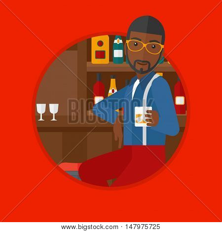 An african-american man sitting at the bar counter. Man sitting with glass in bar. Young man sitting alone at the bar counter. Vector flat design illustration in the circle isolated on background.