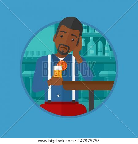 An african-american sad man sitting at bar with glass of orange cocktail. Man sitting alone at bar and drinking orange cocktail. Vector flat design illustration in the circle isolated on background.