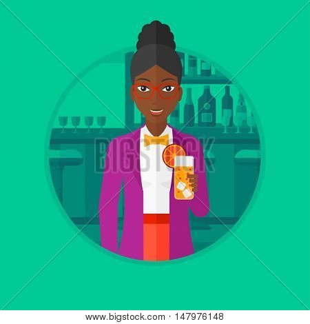An african-american woman with a cocktail. Woman drinking a cocktail at bar. Woman celebrating at bar with an orange cocktail. Vector flat design illustration in the circle isolated on background.