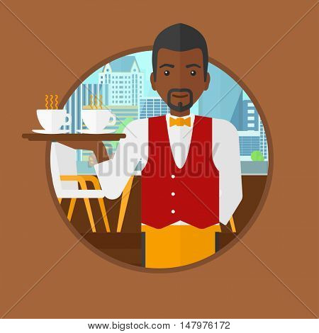 An african-american waiter holding a tray with cups of tea or coffee. Waiter with cups of coffee or tea at the bar. Vector flat design illustration in the circle isolated on background.